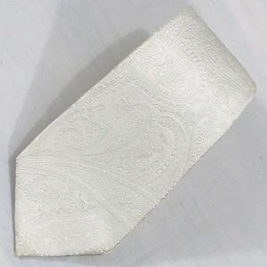 Express Off White Embossed Paisley Tie